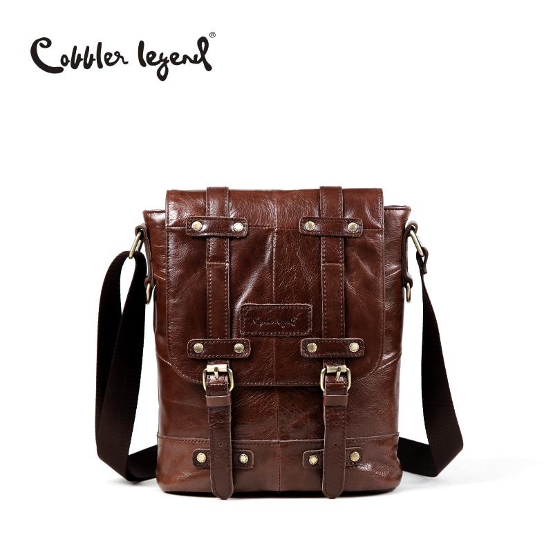 Cobbler Legend Brand Designer Real Cowhide Leather Men's Crossbody Shoulder Messenger Bag For Man Business Travel Bags 701132-1 cobbler legend 2015 messenger 100