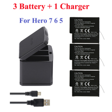 Hero 2018 Hero 7 Hero 6 Hero 5 3-hole storage box charger + 3 pcs batteries  For GoPro Black camera accessories hero