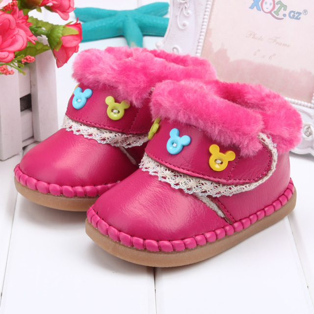 Hot Brand designer Baby Toddler Little Kids Snow Boots Boy Girl Leather Boots Cow muscle Winter Children Shoes