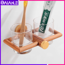 Cup & Tumbler Holders Aluminum Wood Bathroom Toothbrush Holder Glass Wall Mounted Accessories ToothBrush Set