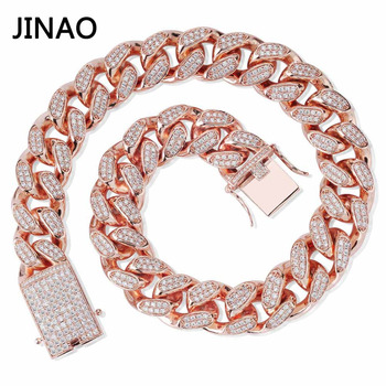 JINAO Men 20mm Heavy Iced Out Chain Zircon Miami Cuban Link Necklace Choker Bling Hip Hop Jewelry Gold Silver Rosegold 16''-30''