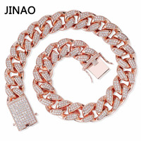 JINAO Men 20mm Heavy Iced Out Chain Zircon Miami Cuban Link Necklace Choker Bling Hip Hop Jewelry Gold Silver Rosegold 16'' 30''
