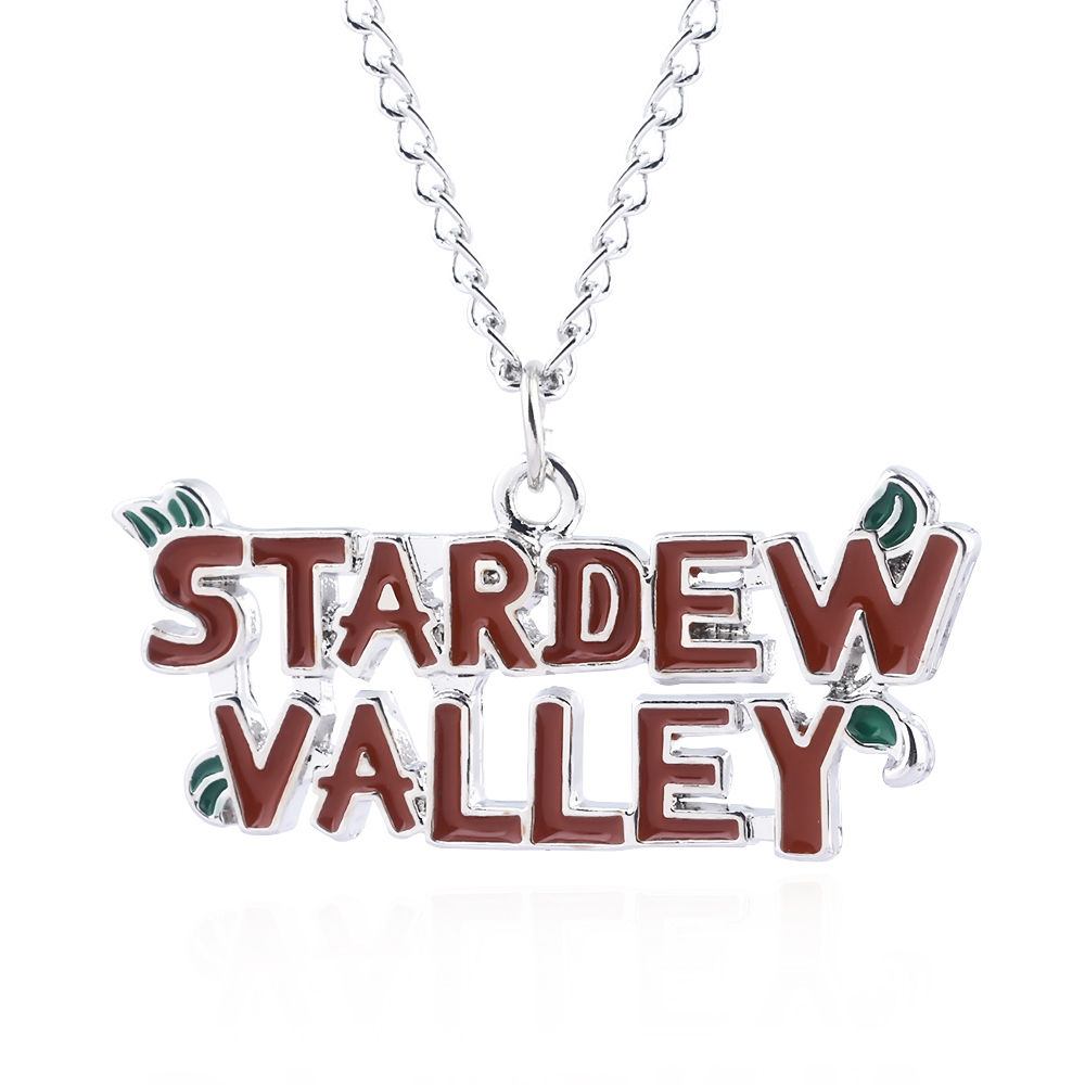 Stardew Valley Letter Logo Necklaces Red Pendants With Silver Chain Choker For Women Girl Game Cosplay Jewelry Christmas Gift image