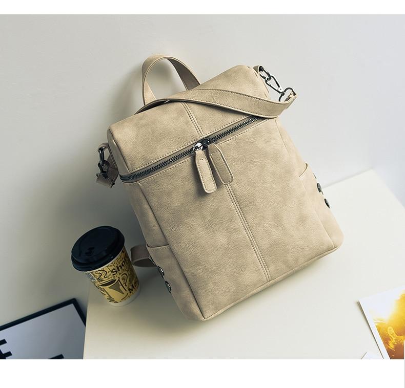 HTB1M.i5aZnrK1RjSspkq6yuvXXaT Simple Style Backpack Women Leather Backpacks For Teenage Girls School Bags Fashion Vintage Solid Black Shoulder Bag Youth XA568