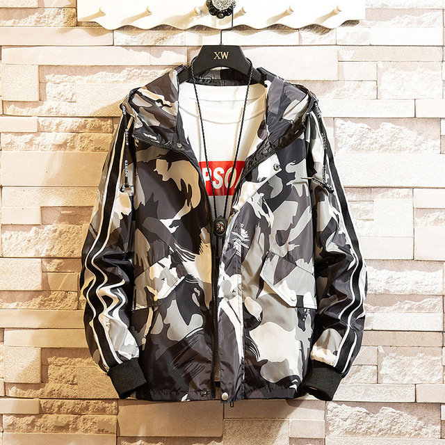 Large Size 8XL Brand Camouflage Men Jacket Casual Printed Hooded Loose Bomber Coat Trend Hip Hop Streetwear;YA059 1