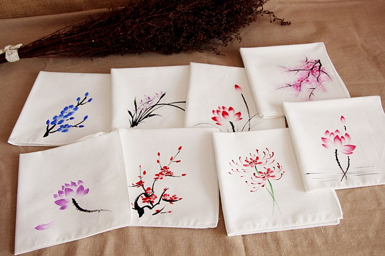 Elegant Hand Painting Cotton Handkerchiefs Women Gift  Cotton Linen Hand Towel Fashion Accessories Small Kerchief  30x30cm