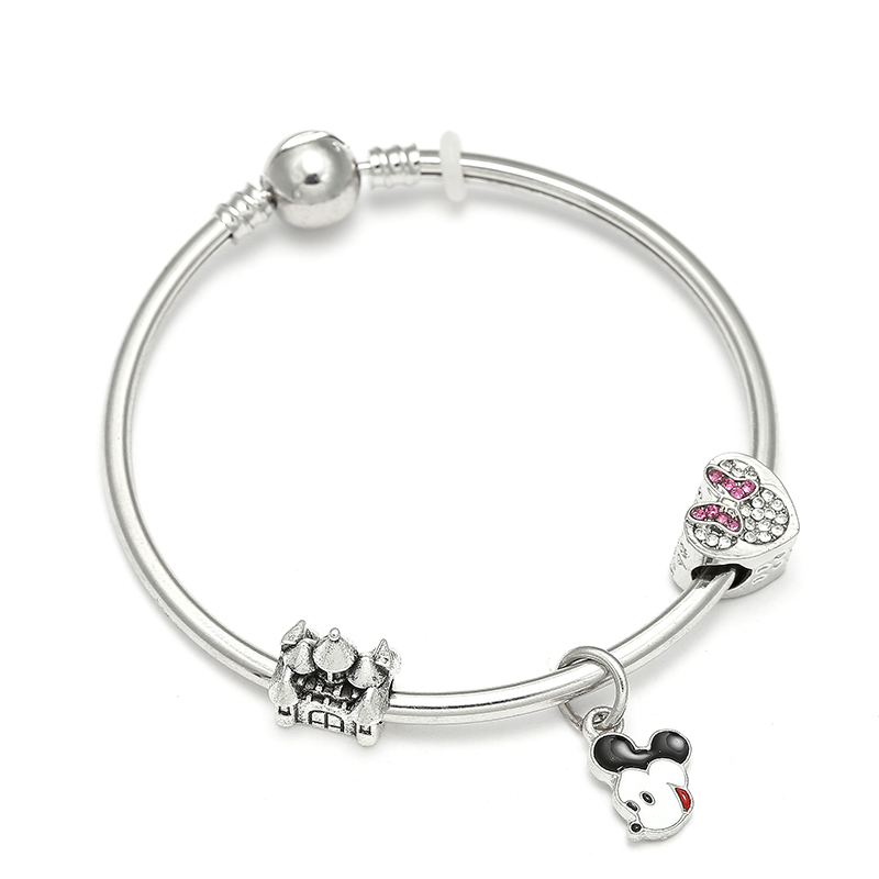 Cartoon Beads Fit DIY Pandora Bracelet & Bangles Mickey Dangle Charm Bracelets For Women For Child Gifts