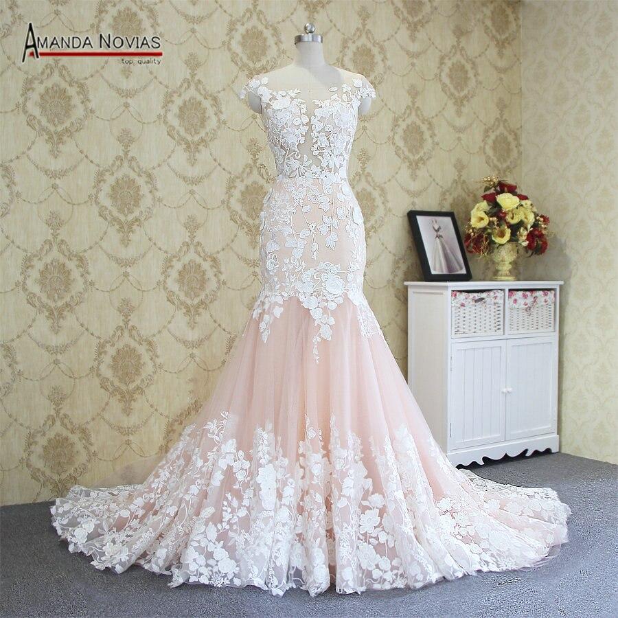 2019 Hot Sale Sexy Mermaid Lace Wedding Dress 100% Real Photos Amanda Novias Wedding Dress