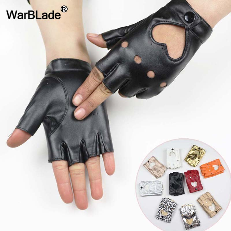 WarBLade High Quality Women Leather Gloves Fashion Fingerless Star Hollow Gloves Party Show Breathable Half Finger Mittens Women