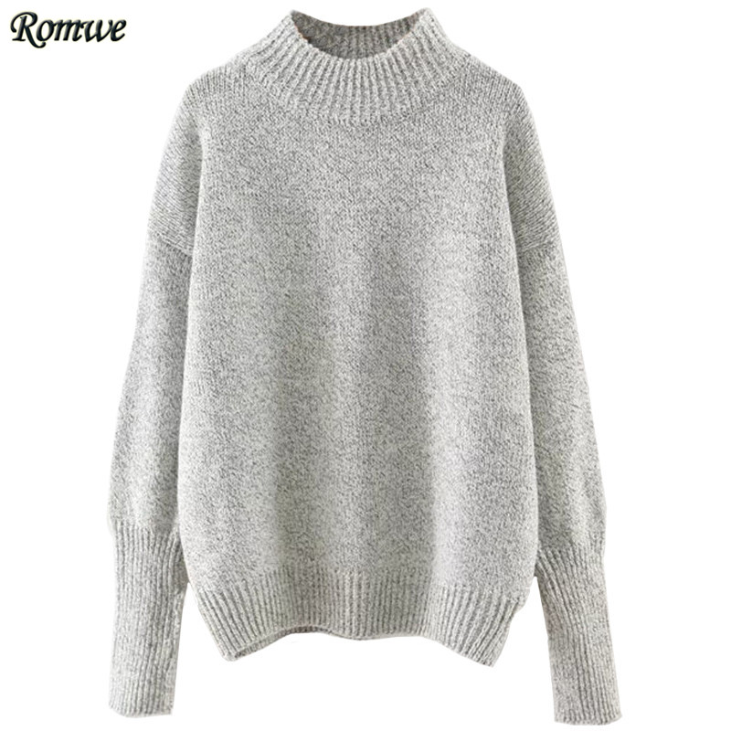 ROMWE Casual Pullovers For Women Autumn Ladies Plain <font><b>Grey</b></font> <font><b>Crew</b></font> <font><b>Neck</b></font> Long Sleeve <font><b>Ribbed</b></font> Trim Drop Shoulder <font><b>Sweater</b></font>