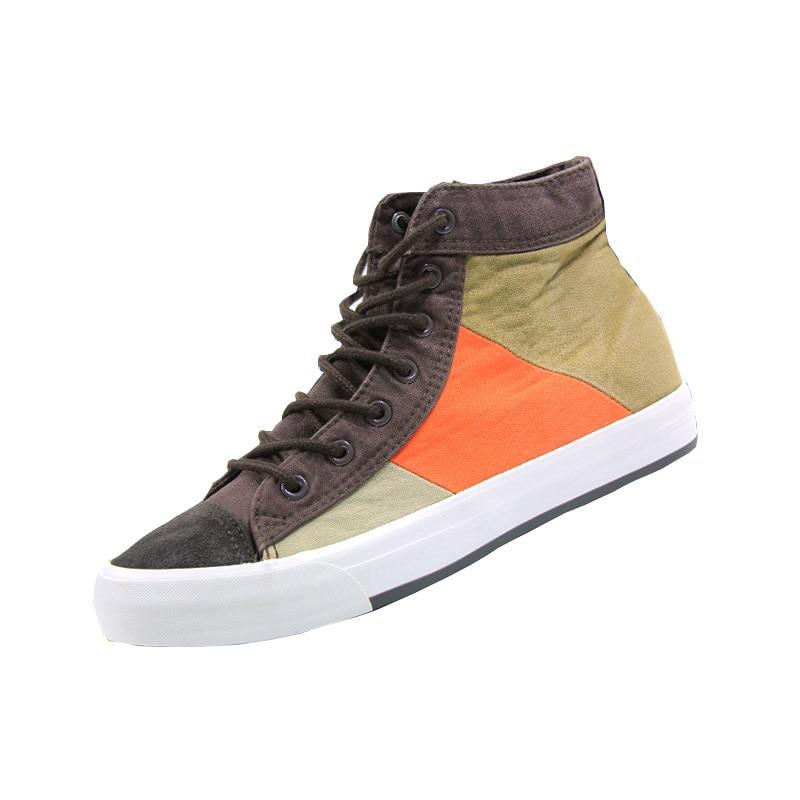 unique design patchwork canvas shoes mens middle top cloth flats shoes lace up derby casual shoes