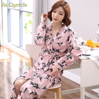 Pink Floral Printing Lingerie Robe Plus Size Women Home Dressing Gown 100% Cotton Bride Robe Bath Clothes Kimono Cotton Bathrobe
