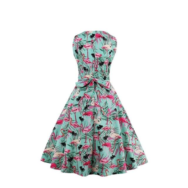 HimanJie Plus Size 4XL Women Retro Dress 50s 60s Vintage Rockabilly Swing Feminino Vestidos flamingo Pattern 2017 Party Dresses