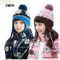 El Bebe Oso Baby Accessory 3 Pcs Set Children Scarf Hat Glove Knitted Winter Warm Snowflake