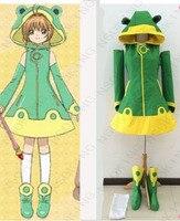 New Anime Cardcaptor Sakura Kinomoto Changable Frog Cosplay Costume SAKURA Frog Tailor Made