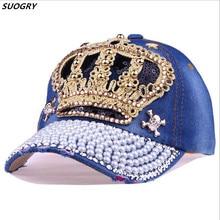 Luxury Women Baseball Cap Brand Bling Crown Pearl Sequins Hip Hop Vintage Denim Snap Back Design Casual Snapback Hat New