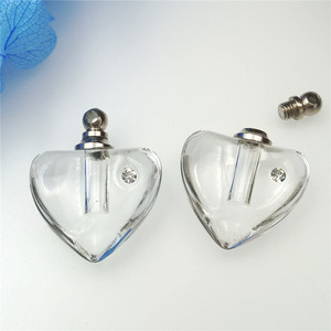 Image 2 - Mini frasco de perfume con forma de corazón, colgante de cristal transparente de 19x19mm, 50 unidades