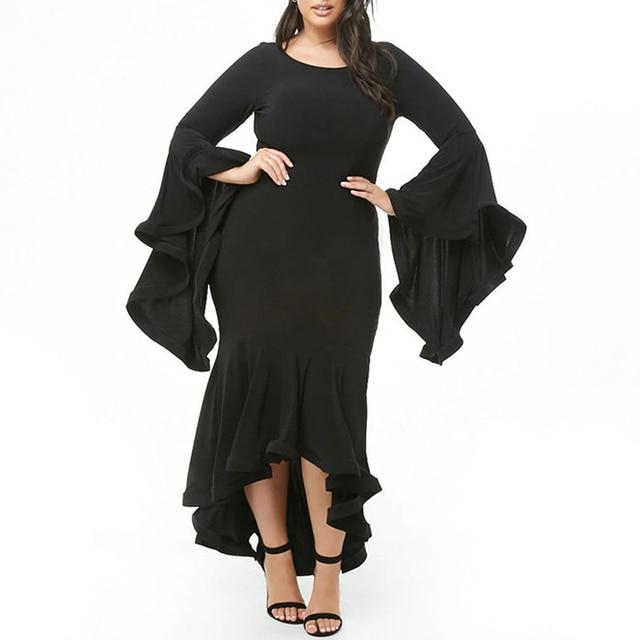 2019 Black Sexy Party Women Dress Big Size Ruffles 4xl 5xl Long Maxi Dress Large Size Bodycon Dress Plus Size vestidos Elegant
