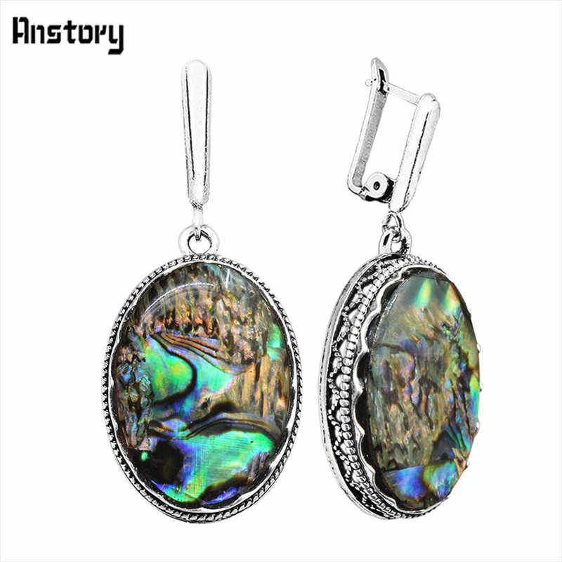 Big Oval Flat Surface Shell Pendant Earrings Antique Silver Plated Party Hollow Flower Special Hook Fashion Jewelry TE324