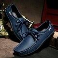 2015 Otoño zapatos del barco de los hombres de moda de cuero genuino oxfords casual zapatos planos de los hombres zapatos de los hombres de los holgazanes drivers 3 colores envío gratis