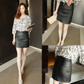 Sexy mulheres império saia reta Leather PU Mini saia curta shorts pretos plus size roupas femininas frete grátis