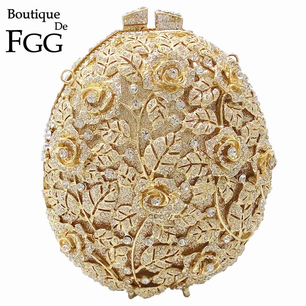 Boutique De FGG Évider Fleur Sac De Soirée En Cristal Pour Les Femmes Parti Dîner Sacs À Main De Mariée D'embrayage De Soirée De Mariage Sac