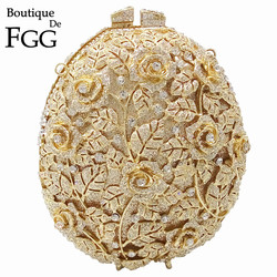 Boutique De FGG Hollow Out Flower Crystal Evening Purse For Women Party Dinner Handbags Bridal Clutch Wedding Party Bag