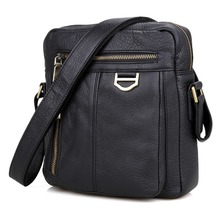 JMD Black Real Cow Leather Mens Messenger Bag Casual Sling Crossbody 1011A