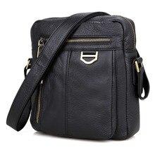 JMD Black Real Cow Leather Men's Messenger Bag Casual Sling Bag Crossbody Bag 1011A