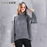 CHICEVER Off Shoulder Women's Turtleneck Tops Female Pullovers Long Sleeve Hollow Out Loose Knitting Sweaters Autumn Fashion New