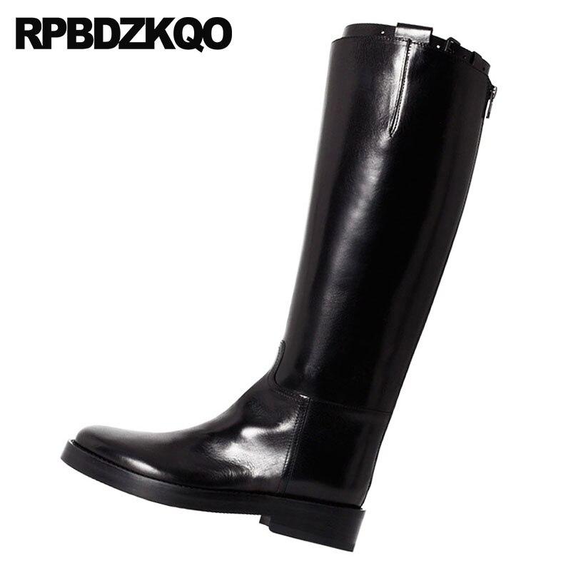 Noir Bout Chunky Haute Longue Noir Chaussures Automne Qualité Rond Fourrure Cuir En marron Marque Équestre Femmes Équitation Hiver Bottes 2018 Véritable Genou q4wR0C