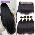 Full Lace Closure Ear To Ear With Bundles Cheap Indian Hair 4 Bundles And Closure 7a Grade Black Straight Frontal With Baby Hair