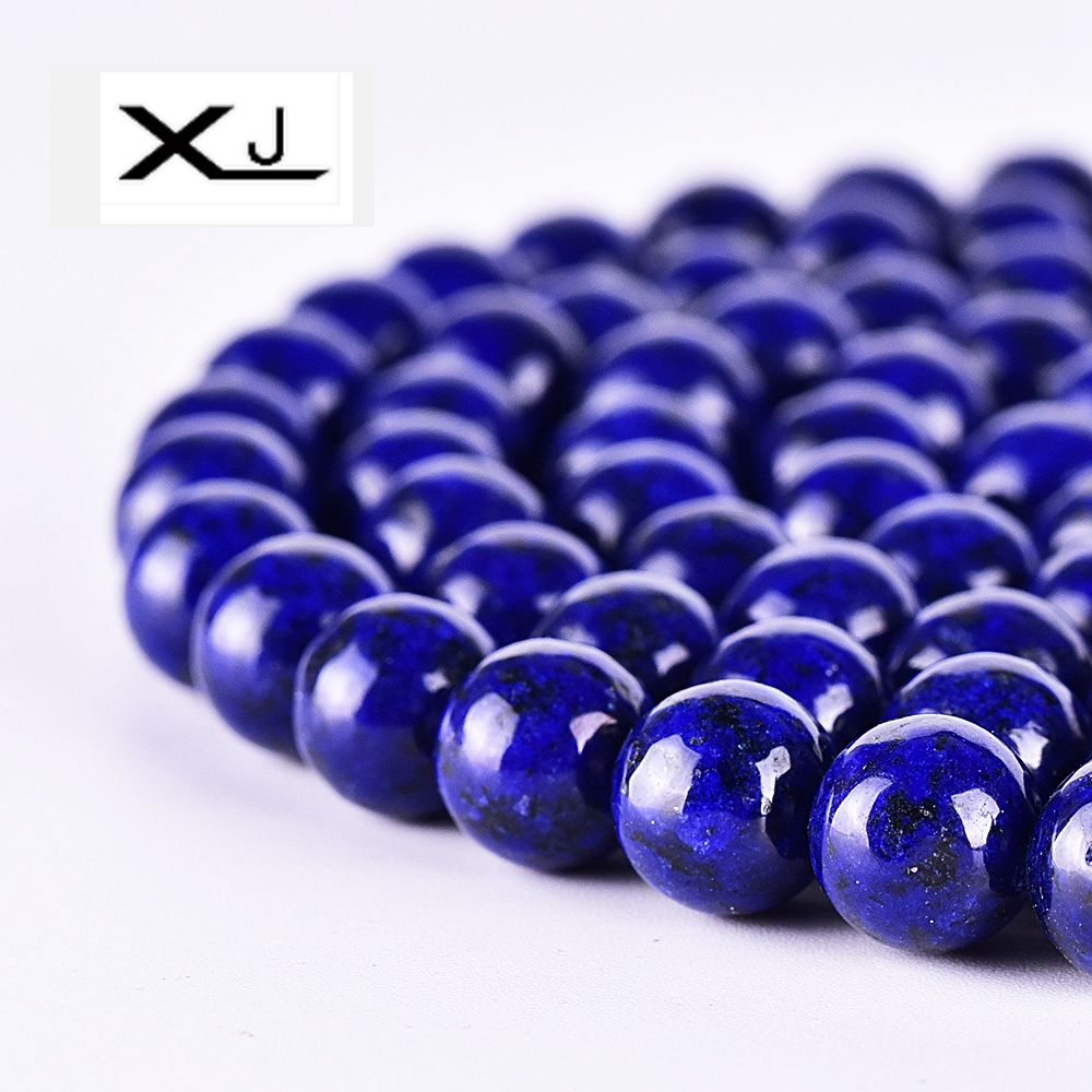 XIN JIAO  Natural Lapis stone Round beads 4mm 6mm 8mm 10mm 12mm Pick Size For Women Jewelry Making Beadwork DIY Bracelet