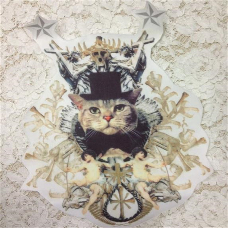 T shirt patch Diy angel cat pattern 31cm brand logo iron on patches for clothing transfer printing clothes top animal stickers
