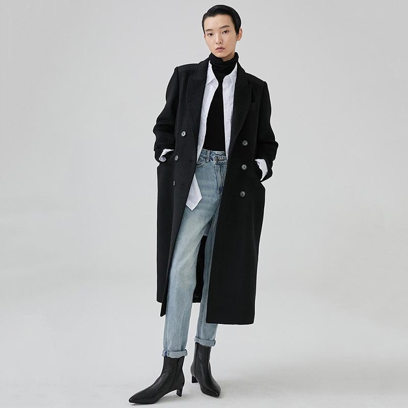 2019 Lâche Ji864 Bref Long Manteau De Longues Boutonnage Laine Manches Noir Marée Black eam Revers Femmes Printemps Nouveau À Mode Double dwAn84