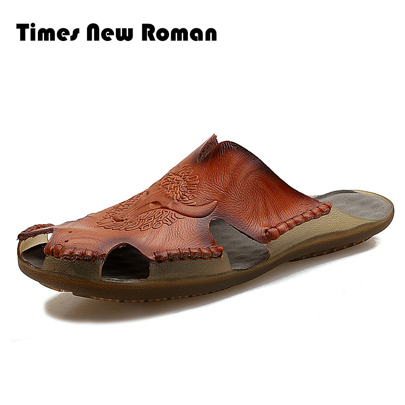 Times New Roman Sommer Hausschuhe Männer Aushöhlen Atmungsaktive Strand Sandalen Schuhe Männer Casual Wohnungen Flip-flops Zapatos äSthetisches Aussehen