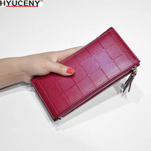 New Women Leather Purse Checkered Wallets Long Ladies Colorful Walet Red Clutch 10 Card Holder Coin Bag Female Zipper Purse Girl
