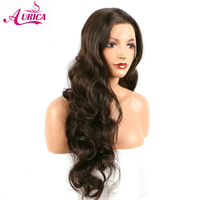 Aurica long natural brown body wave synthetic lace front wigs half hand tied heat resistant fiber hair for woman
