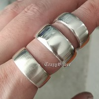 LINSION 925 Sterling Silver Open Size Simple Ring 3 Width Mens Biker Rock Punk Ring 9Y009