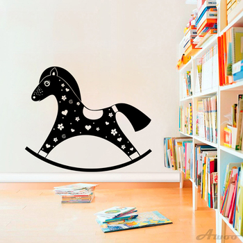 Creative Toy Rocking Horse Vinyl Wall Sticker Decals Removable Lovely Nursery Unique Murals Gift Baby Room Home Decoration