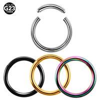 50 Adet/grup G23 Sınıf Titanyum Renkli Burun Clicker Küçük Sahte Hoop Septum Burun Halkaları Vücut Piercing Takı