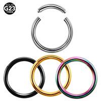 50PCs/Lot G23 Grade Titanium Colorful Nose Clicker Small Fake Hoop Septum Nose Rings Body Piercing Jewelry