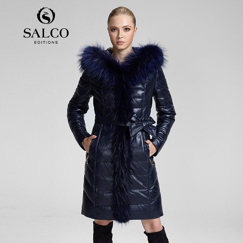 SALCO 2016 Последние европейских и американских платье енота меховой воротник женская кожаная куртка с капюшоном пуховик и длинные секции