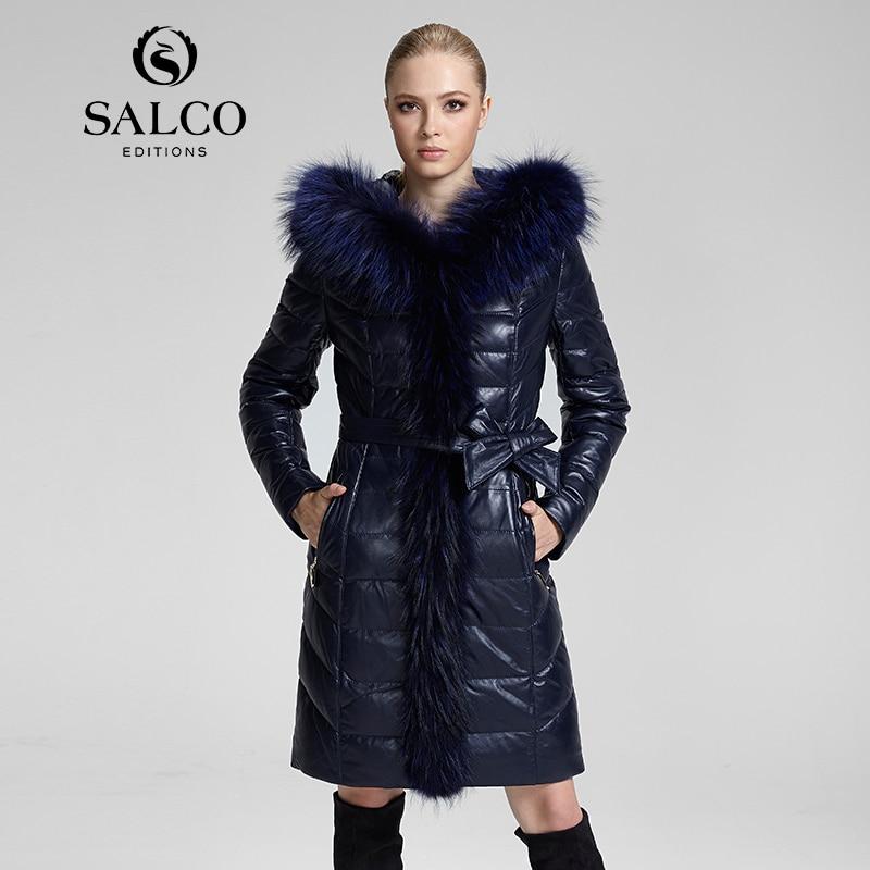 SALCO 2016 l'ultimo vestito Europeo e Americano raccoon collo di pelliccia di cuoio delle signore con cappuccio piumino e lunghi tratti