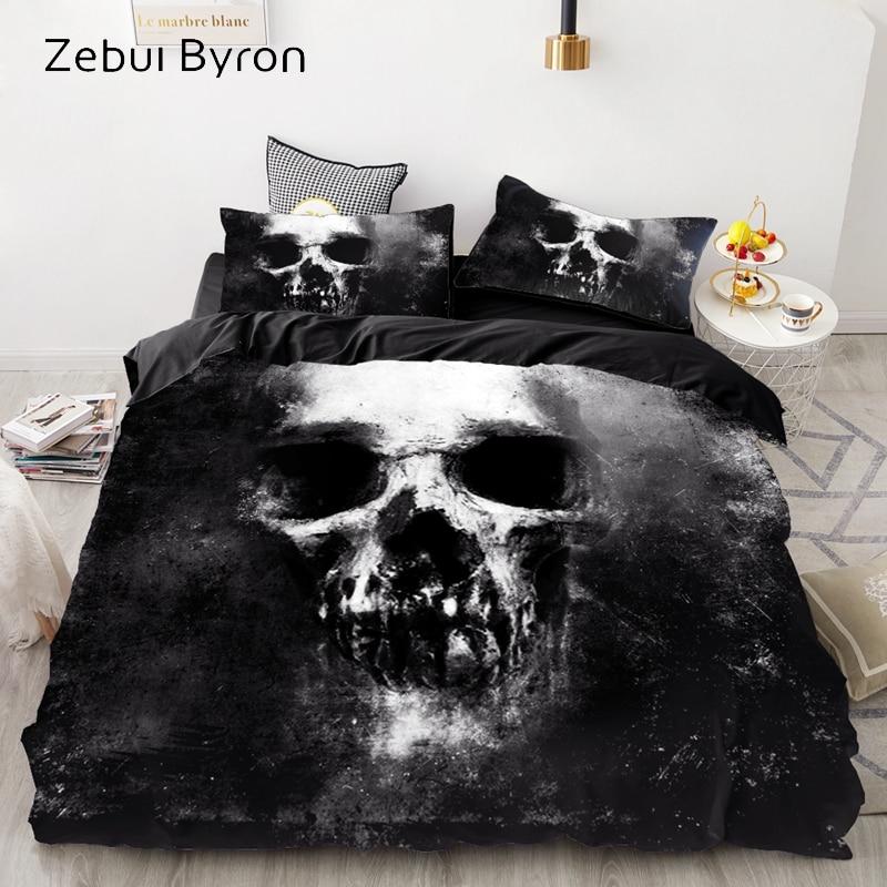Luxury Bedding Sets 3D Custom,Duvet Cover Set Queen/King,Quilt/Blanket Cover Set,3 PCS Bed Se,Black Skull Bed Linen