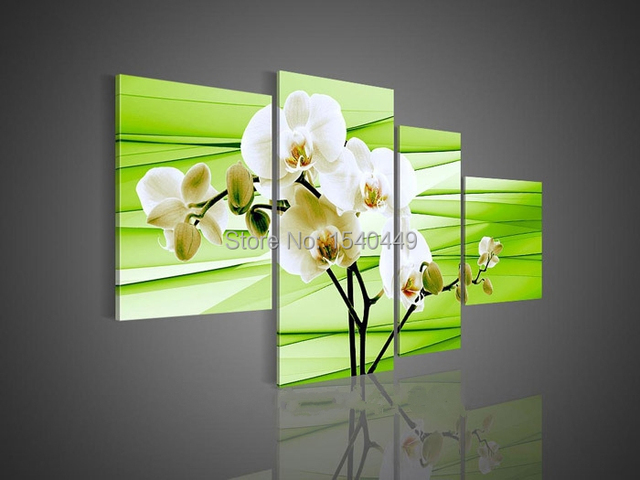 Hand Painted Orchids Wall Decor white Flowers Oil Painting 4 Piece ...