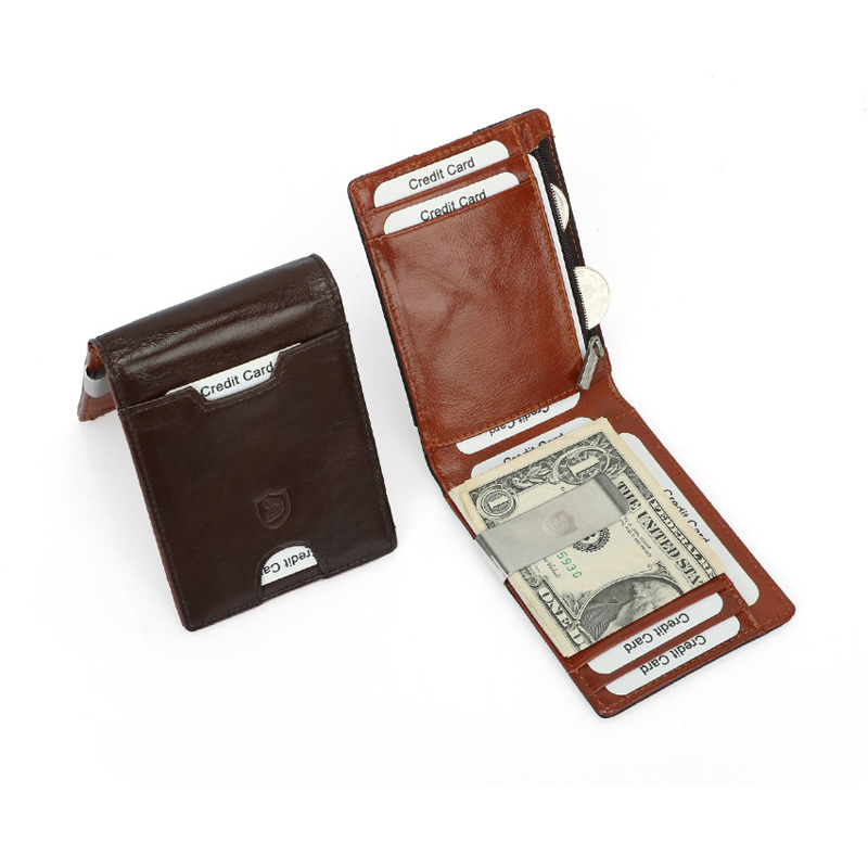 Men's Genuine Leather Money Clip Ultra Thin Bifold Wallet RFID Blocking Credit Card Protection Small Zipper Coin Pocket Purse