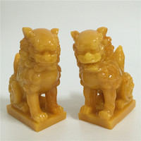 2 Pcs Chinese Lions Statues Man made Jade Stone Animals Garden Sculpture Lion Figurines Statue For Home Decoration Feng Shui