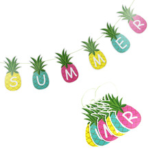 Pineapple Garland Letter Banner SUMMER Bunting Decor Fruit Tropical Hawaiian  Pool Party Flamingo
