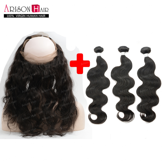 360 Lace Frontal With Bundle Peruvian Body Wave Pre Plucked 360 Frontal With 3 Bundles Human Hair Lace Frontal Closure
